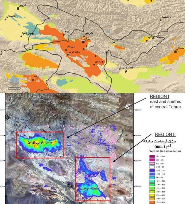 نقشه فرونشست در استان تهران